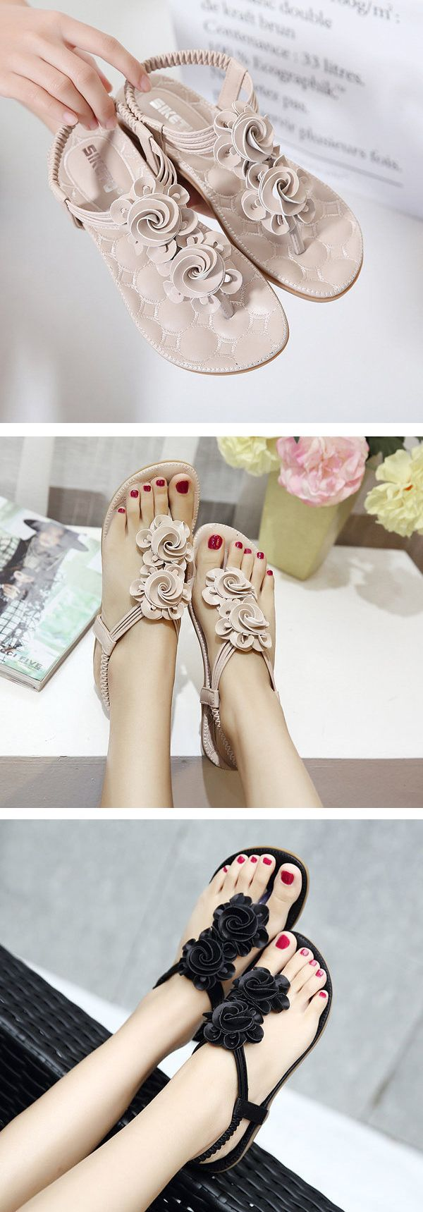 US$17.66 Flower Bohemia Clip Toe Elastic Flat Sandals For Women_Women Flat Sandals_Women Summer Shoes