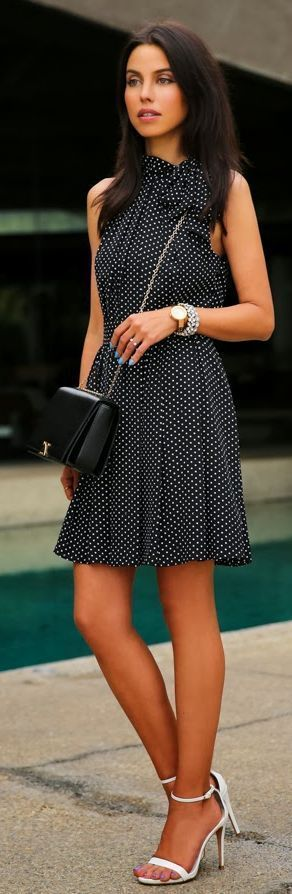 Beautiful white polka dot mini dress