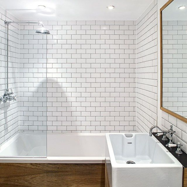 small bathroom with subway tile