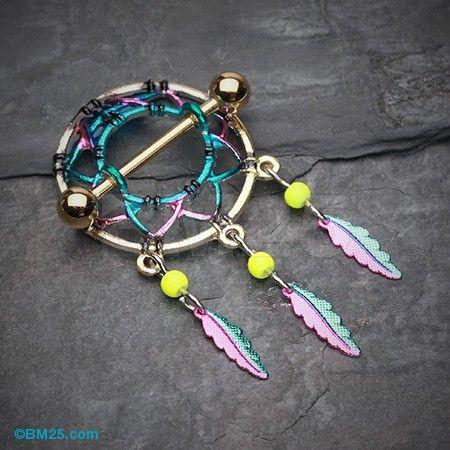 Golden Dreamcatcher Feather Nipple Shield Ring