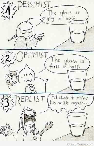 Fullmetal Alchemist Optimist, Pessimist, and Realist descriptions!! so true!! Ed better run real fast!
