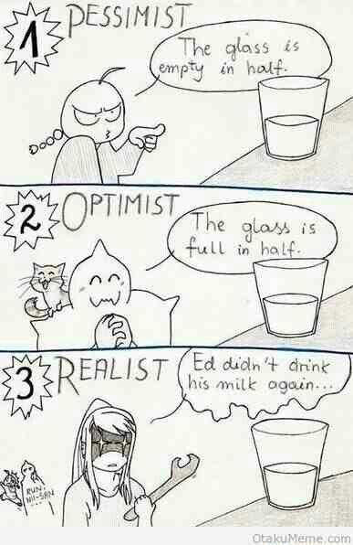 Fullmetal Alchemist Optimist, Pessimist, and Realist descriptions!! so true!! Ed better run real fast!