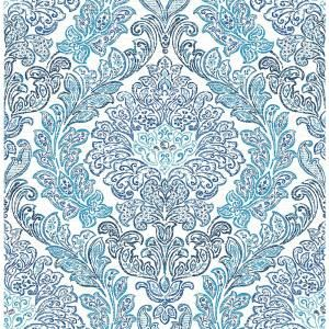 A-Street Fontaine Navy Damask Wallpaper Sample 2702-22743SAM at The Home Depot - Mobile