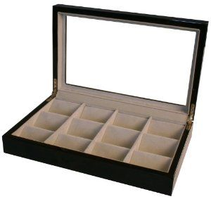 """Pocket Watch Box Valet Large Compartments Black Matte Finish See Thru Top Tech Swiss. $49.95. Exceptional Quality Single-Level Black Matte Finish Wood Box. Display Your Pocket Watch Collection in this Exclusive Montego Case For 12 Pocket Watches. The Large Divider Keep Pocket Watches Separated and Scratch Free. The Box Interior is Lined with Camel Colored Faux Suede Lining. Box Dimension: L 14"""" x W 9 1/2"""" x H 4.5  Slanting Compartment: 3.25"""" x 2.75"""" x 2""""H. Save 60%!"""