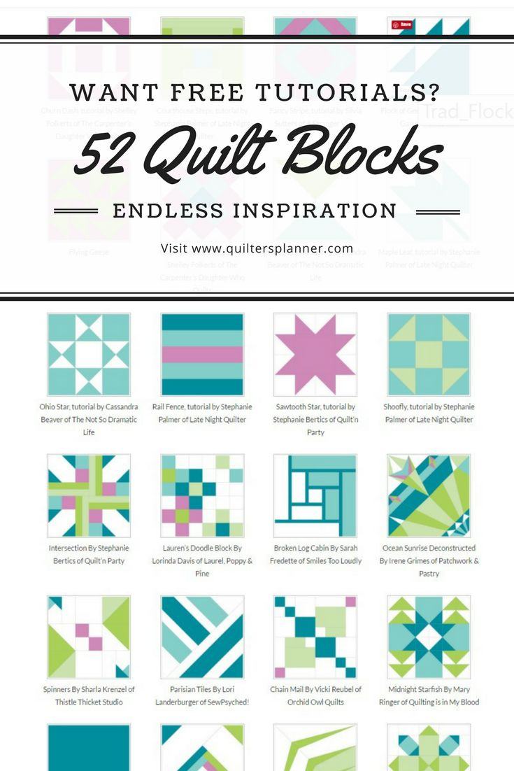52 Free Quilt Block Tutorials from Easy to Advanced | The Quilter's Planner