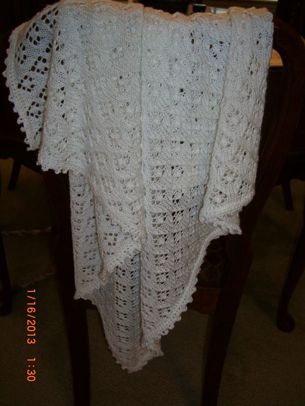 Christening Blanket Knitting Pattern : baby christening blanket knitting patterns Christening blanket finished B...
