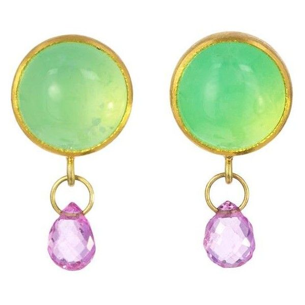Mallary Marks Chrysoprase and Pink Sapphire Earrings (6 695 UAH) ❤ liked on Polyvore featuring jewelry, earrings, pink sapphire earrings, mallary marks jewelry, mallary marks earrings, chrysoprase earrings and chrysoprase jewelry