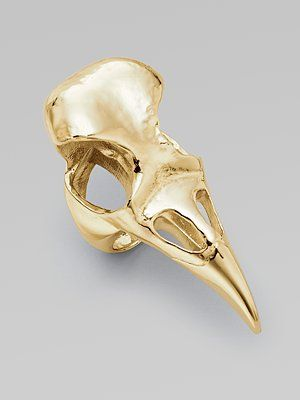 Alexander McQueen gold bird skull ring