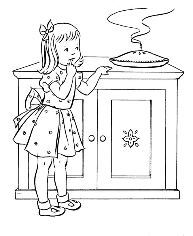 Thanksgiving dinner coloring page sheets girl sneaking a pie coloring pages including family dinner scenes turkeys cornucopia and other thanksgiving