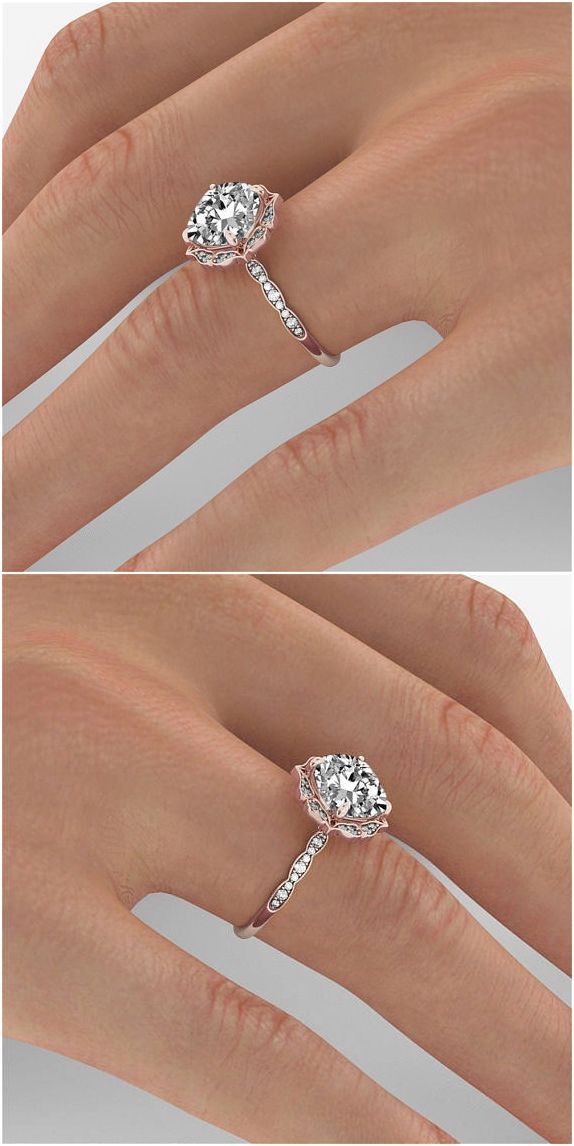 1 Carat Gia Diamond Engagement Ring Rose Gold Cushion Diamond