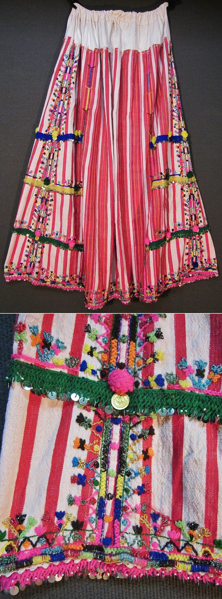 An embroidered 'etek' (skirt)  from the Pomak villages near Biga (Çanakkale prov.).  Part of the traditional festive costume for women.  Mid-20th century.  Adorned with (cotton & lurex threads) embroidery on cotton, cotton crochet lace with metal sequins, metal (imitation) Ottoman coins, and (cotton or orlon) pom-poms.  (Inv.nr. ete001 - Kavak Costume Collection - Antwerpen/Belgium).