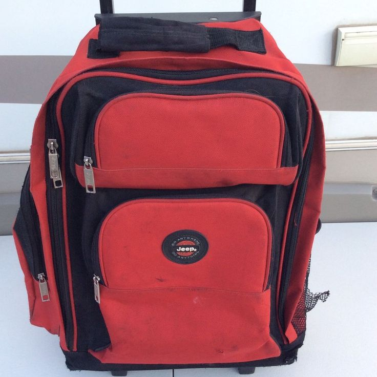 Jeep Rolling Wheeled Backpack Luggage Travel Bag Red #Jeep #Backpack