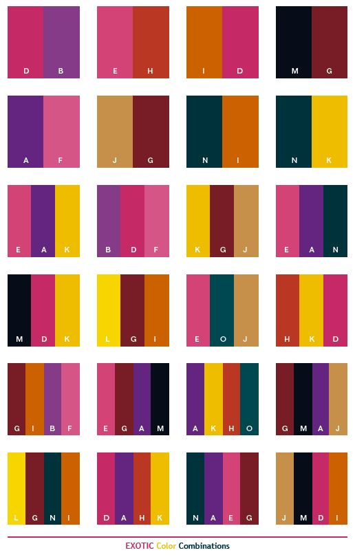 Exotic color schemes, color combinations, color palettes for print (CMYK) and Web (RGB + HTML)