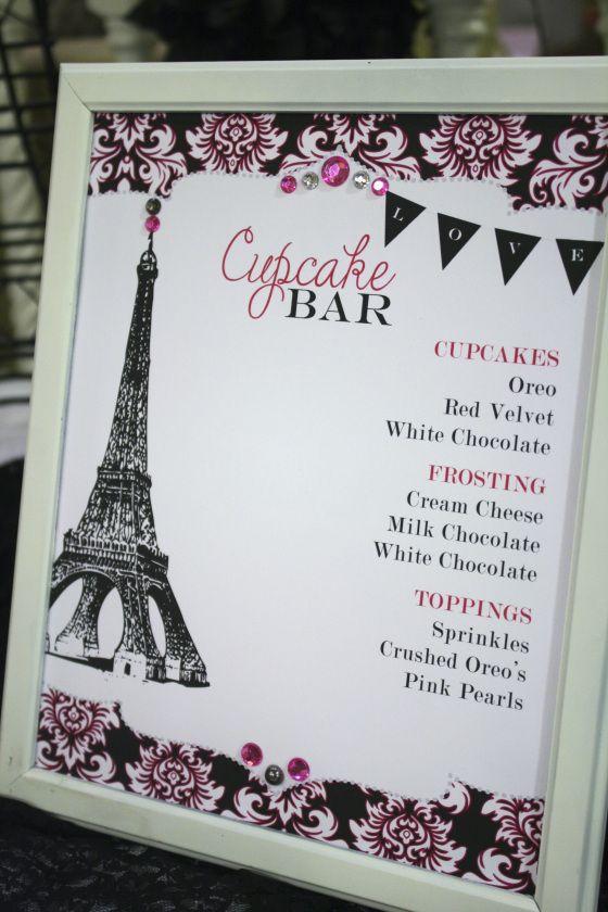 paris themed cupcake bar for lingerie/bridal shower