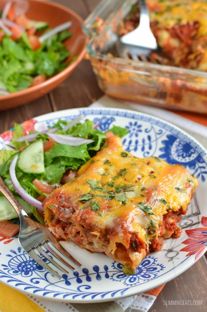Slimming Eats Pasta Chicken Enchiladas - gluten free, Slimming World and Weight Watchers friendly