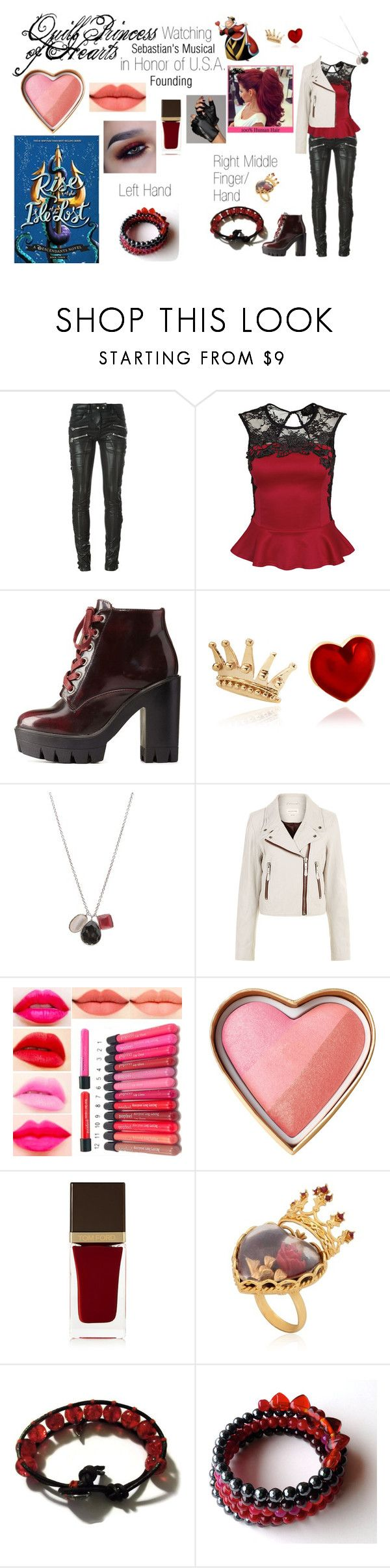 """""""Disney Descendants: Watching Sebastian's Musical in Honor of U.S.A. Founding: Quill: Princess of Hearts"""" by e-auradon on Polyvore featuring Faith Connexion, Chicnova Fashion, Charlotte Russe, Alison Lou, Ippolita, Étoile Isabel Marant, Tom Ford and Dolce&Gabbana"""