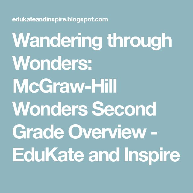 Wandering through Wonders: McGraw-Hill Wonders Second Grade Overview - EduKate and Inspire