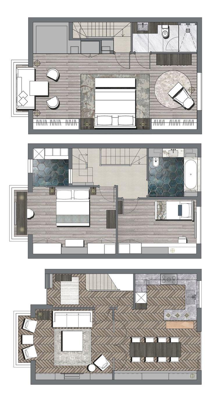 Pinterest: @claudiagabg   Townhouse 3 pisos 3 cuartos