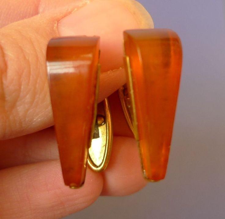 k28 Vintage USSR jewelry Cognac Baltic Amber CUFFLINKS Gold Plated marked YAK #YAK