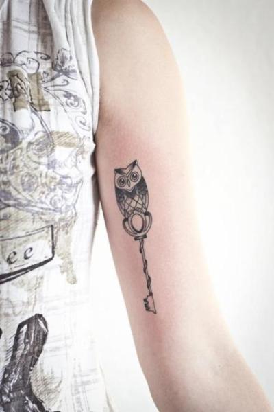 tattoo: Tattoo Ideas, Owl Keys, Patterns Tattoo, Tattoo Patterns, Skeletons Keys, Tattoo Design, Keys Tattoo, Owls, Owl Tattoos