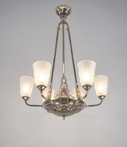 Degue Signed French 1930 Art Deco Chandelier Re
