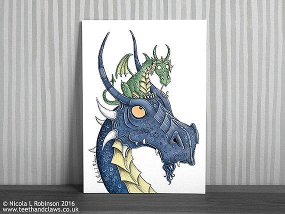 Blue Dragon Art Print Dragon Nursery Art Kids by TeethandClaws