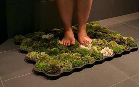 Moss Bath Mat by Nguyen La Chanh, Switzerland: Soft underfoot and kept alive from the water which drips from your body as you dry