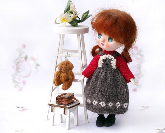 6 inch Lati Yellow knitted brown sundress. BJD by Creativhook