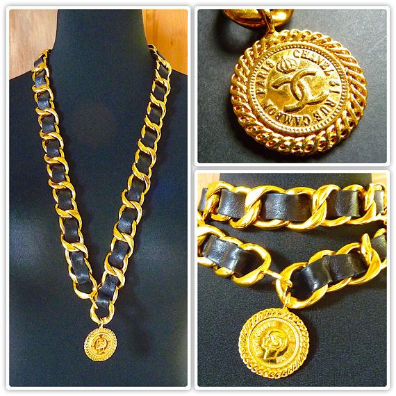CHANEL Chain Necklace Gold Tone Chain Black Leather Vintage