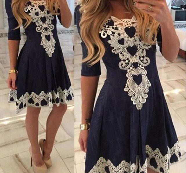 Cute Trendy Tribal Lace Embroidered Three Fourth Sleeve Pleated Mini Skater Dress - Navy