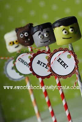 halloween: Sweet Cheeks, Cakes, Marshmallow Pops, Cake Pops, Halloween Food, Halloween Treats, Tasty Treats, Cheeks Tasty, Cake Pops