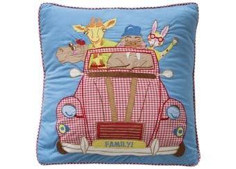coussin rigolo 'animaux dans voiture' Room Seven | shop pour enfants Le Petit Zèbre