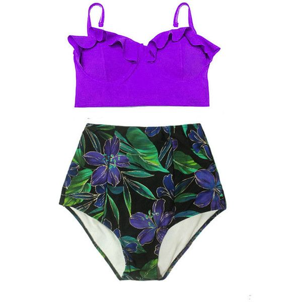 Violet Underwire Midkini Top and Flora High Waisted Waist Handmade... ($40) ❤ liked on Polyvore featuring swimwear, bikinis, grey, women's clothing, high waisted bikini, underwire swimsuits, retro high waisted bikini, retro bikini and bikini bathing suits