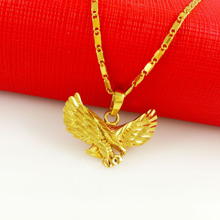 Man's 24 k Gold Eagle Pendant and Chain
