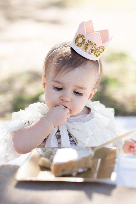 Erster Geburtstag Krone || Erröten und Goldfilz Krone || 2. Geburtstag Krone || Mädchen Geburtstag Krone || Bi