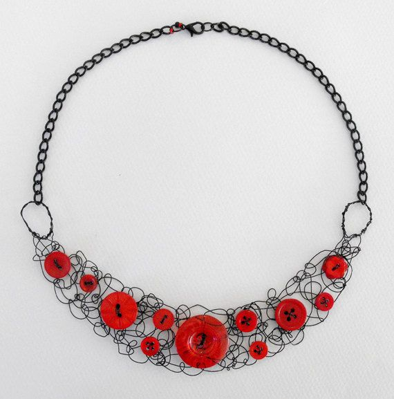Button and wire statement necklace  red by DemelzaGraceDesign, $40.00