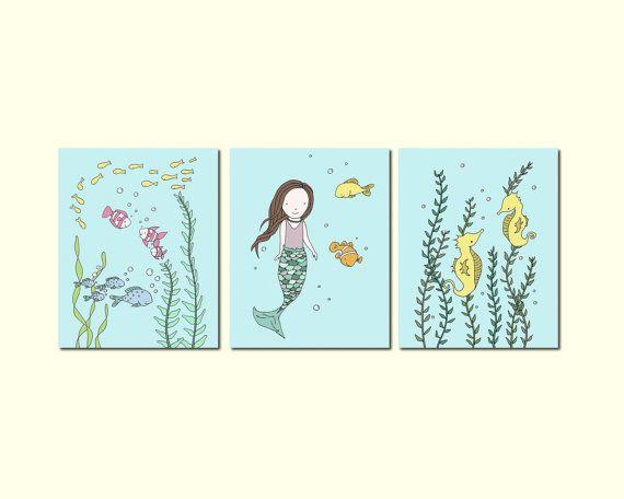 Mermaid Art    Under The Sea Art Prints    Nursery Decor    Mermaid Fish  Seahorse    Set Of 3 Prints    Kids Wall Art