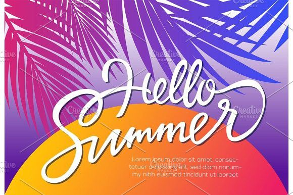 hello Summer - vector leaflet template with brush lettering #background