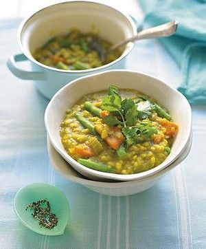 Vegetable and barley soup.