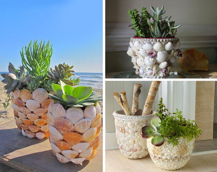 Decorazione con le conchiglie: vaso per piante