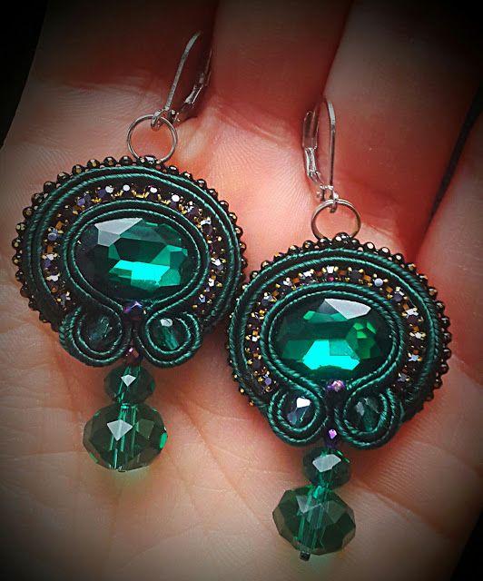 biżuteria soutache, haft koralikowy, torby z filcu: Zielone