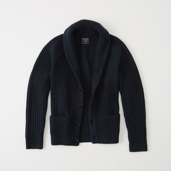 Abercrombie & Fitch Wool Shawl Cardigan ($69) ❤ liked on Polyvore featuring men's fashion, men's clothing, men's sweaters, navy, mens wool sweaters, old navy mens sweaters, mens wool cardigan sweaters and mens cardigan sweaters