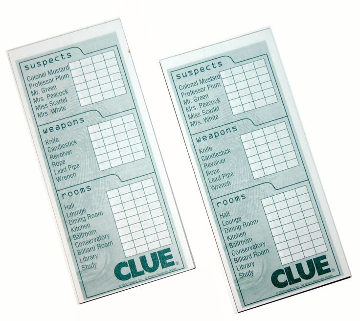 Cluedo Anime: Amazon.com: 2 Classic Clue Replacement Card Notepad Sheets
