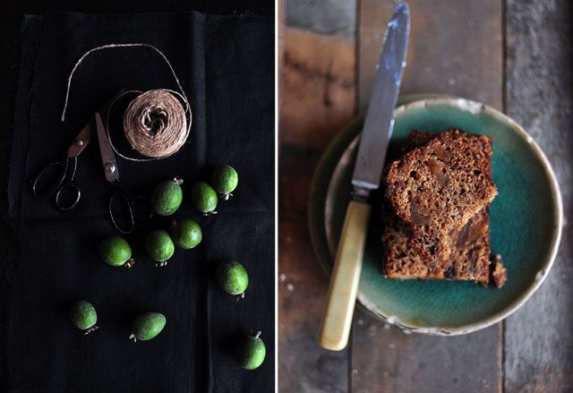 Feijoas Date & Ginger Loaf:  1 cup feijoas, peeled and diced  150g dates, chopped  100g crystallised ginger, chopped  250mls boiling water  150g brown sugar  50g butter  1 egg, beaten  1 tsp vanilla extract  270g flour  1 tablespoon ginger  1 tsp baking powder  1 tsp baking soda