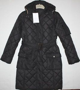 Girls Burberry Black Long Quilted Coat Size 10 | eBay