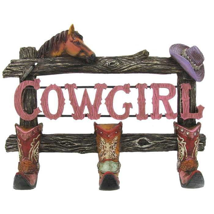 Cowgirl Decor With 3 Boot Hooks