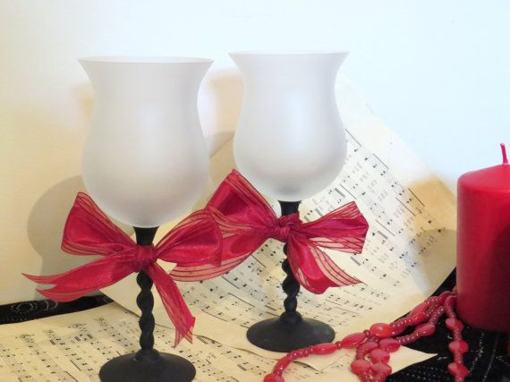 Goth wine glasses gothic style glasses gothic by ChippedPaints