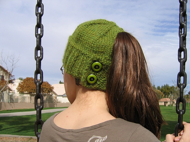 I have knitted this hat for my daughter, wife and about 7 others and It has become their favorite. Hannah hat - Are you tired of hats that are simply not compatible with your hair? Or the ones tease you, having a hole but mess up your hair when taking them on and off? This hat allows one to wear a ponytail neatly while the hat is on and after it is taken off. Directions for use: Place Hannah on your head with the buttons open. Then, simply button the flap underneath your hair.