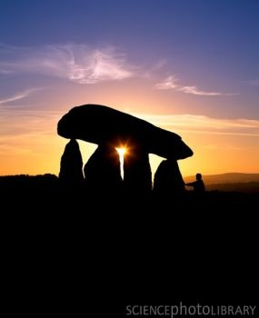 Standing stones, Wales. Known in Welsh as a cromlech, this structure, which was once a neolithic burial chamber, consists of large upright stones (megaliths) supporting a massive capstone.