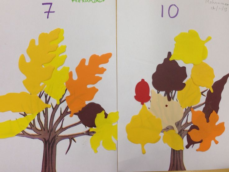 Matching the correct number of autumn leaves to the numeral above the tree. EYFS / pre-school maths, counting and number recognition activity.